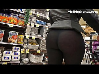 See through leggings visible thong booty 25