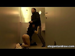French milf fucked by lover in toilet of a restaurant