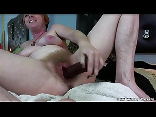 Hairy all over redhead with wet unshaven cunt