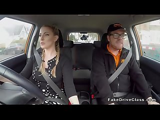 Busty pigtailed driving student bangs