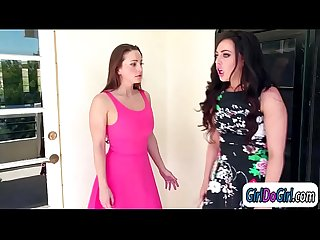 Lesbian couple and babysitter trib and facesit in threesome