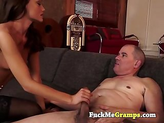 Small tits brunnette with Old man