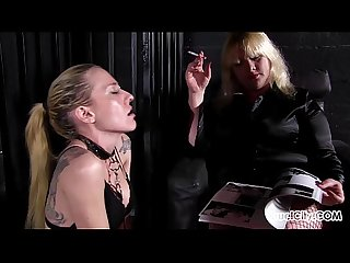 Female Slave is Mistress Anna's Human Ashtray!