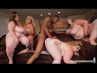4 plump busty bbws fuck 1 big black cock
