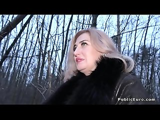 Tattooed ass blonde milf fucks public agent
