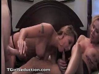 Husband busts his Wife with a tgirl and they have crazy 3 way Sex shemale fucking both a Hot Girl