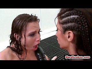 Hot mean lesbians punish new office secretary with a strap on 04