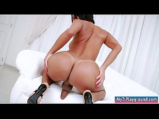 Big boobs tranny shows off big ass and masturbates her cock
