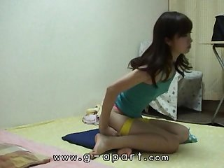 Peeping japanese teen haruka s short shorts exercise in her apartment