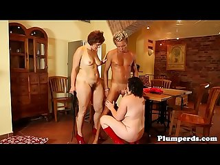Mature femdom plumpers trio with male sub
