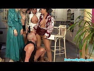 Peedrinking czech babes share a slaves cock