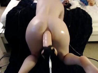 Teen take a huge dildo in her ass camparadise period net