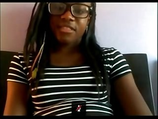 Ebony college teen masturbates on webcam