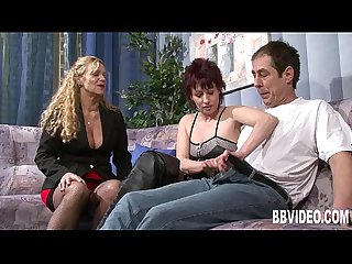 German milfs share a lucky dick