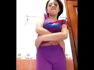 A beautifull indian girl enjoy in bathroom