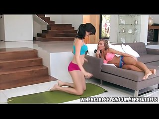 Beautiful brunette milf fucks her younger yoga instructor
