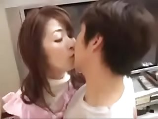 Hot asian Japanese mom and son have nice Sex