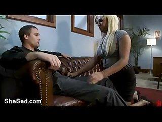Juicy blonde tranny bangs guy