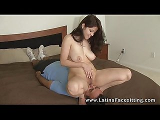 Latina mistress Evie Delatoso nude facesitting
