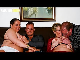AMATEUR EURO - German BBW Grannies Are Taking Cock In Hot Foursome (Angelika J. &..