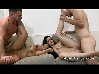 Brunette female friends Suck and Fuck in foursome