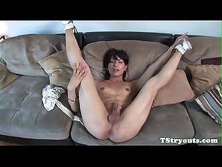 Shemale beauty sucking cock on casting