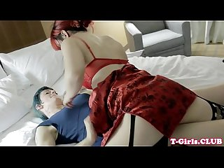 Smalltited tgirl strapon fucked before sex