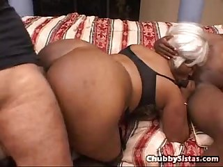 Ebony granny gets double team