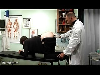 Old gay doctor probes his patient?s ass with dick