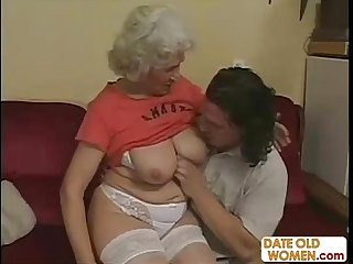 Horny grandma felt up and fucked hard