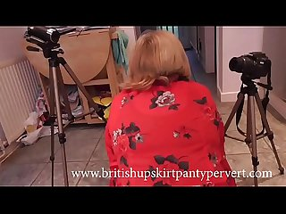 British Mature wife and mother rosemary gives upskirt panty views before swallowing A huge load of s