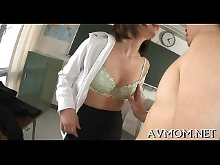 Horny milf get down on hard knob