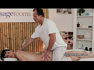 Small tittied babe fucks older masseur