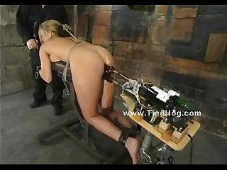 Brunette slutties with boobs clipped with bondage devices made to suffer