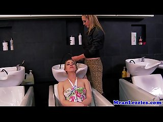 Busty lezdom hairdresser licked out by beauty