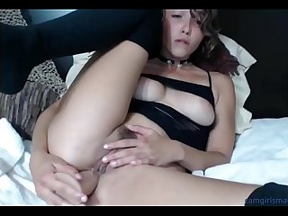 Hot tiny amateur slut stuffs her butthole and pussy with dildos then licks them camgirlsmagic com
