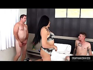Saucy Tgirl Larissa Albuquerque Fucked in Mouth and Ass by Two Guys