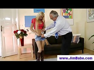Old guy spoiling a blondes young pussy
