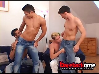 Nasty orgy on 6 barebacks studs
