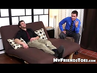 Cute Cameron gives his buddy Cole a soothing foot massage