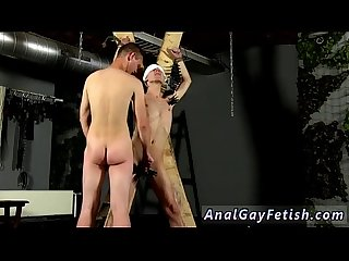 Gay thong bondage porn first time Skinny twink slave Reece is