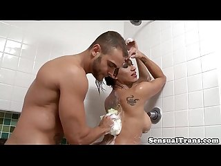 Soapy tgirl rimmed in shower before fucking