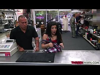 Sexy latina with big tits is fucked in the back office of a pawn shop for money