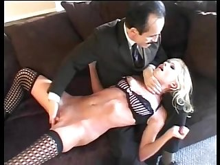 Secretary in sexy lingerie groped and forced by her head office