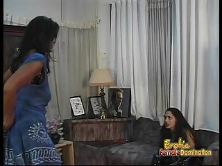 Two lusty ebony harlots have some naughty lesbian bedroom fun