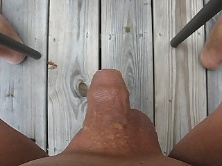 65 year old male masturbates and cums outside
