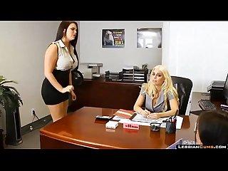 LesbianCums.com: Britney Amber Threesome Office