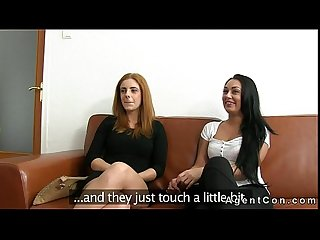Two amateurs ucking dick of fake agent on couch