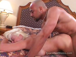 Hot amateur gilf can get enough of that big black cock in interracial video