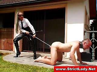 Femdom bitch slut bullies tied victim